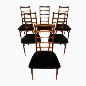 Teak Lis Back Stühle von Niels Koefoed für Koefoeds Hornslet, 1960er, 6er Set