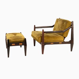 Rosewood Lounge Chair and Ottoman by Jean Gillon, 1960s, Set of 2