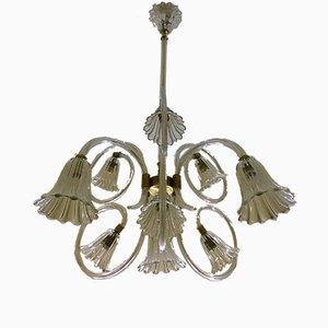 Lampada da soffitto grande a nove braccia di Ercole Barovier per Barovier & Toso, anni '40