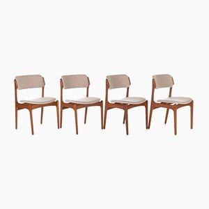Teak 49 Dining Chairs by Erik Buch for Oddense Maskinsnedkeri / O.D. Møbler, 1950s, Set of 4