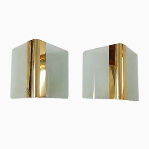 Glass & Metal Metalarte Sconces, 1970s, Set of 2