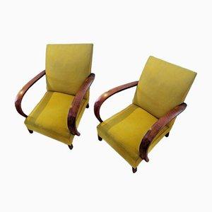 Art Deco Mahogany & Fabric Lounge Chairs, 1930s, Set of 2