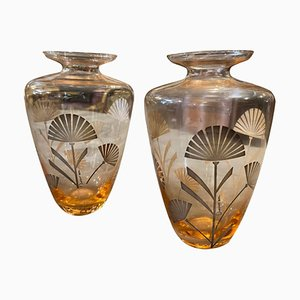 Italian Art Deco Silver & Orange Glass Vases, 1930s, Set of 2