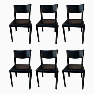 Vintage Italian Black Saddle Leather Dining Chairs in the Style of Tito Agnoli for Matteo Grassi, 1980s, Set of 6