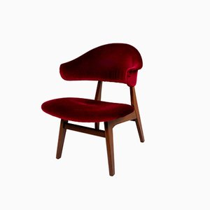 Vintage Teak & Fabric Wing Armchair in the Style of Louis van Teeffelen, 1960s