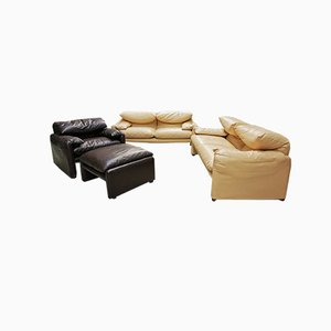Beige Leather Maralunga Sofas & Dark Brown Leather Armchair by Vico Magistretti for Cassina, 1973, Set of 3