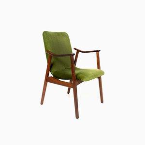 Vintage Teak & Green Velvet Armchair in the Style of Louis van Teeffelen, 1960s
