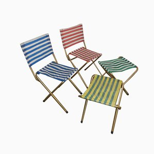 Italian Folding Garden Chairs, 1970s, Set of 4