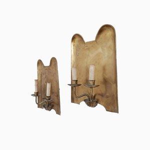 Vintage German Brass Dual Sconce