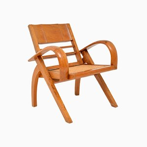 Vintage Satin Wood & Cane Armchair, 1960s