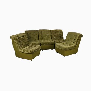 Vintage Moss Green 5-Element Sofa, 1960s, Set of 5