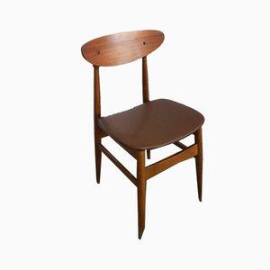 Italienischer Esszimmerstuhl aus Buche & Kunstleder, 1970er