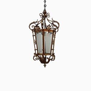 Antique Decorative Gilt Brass Pendant Lamp or Lantern