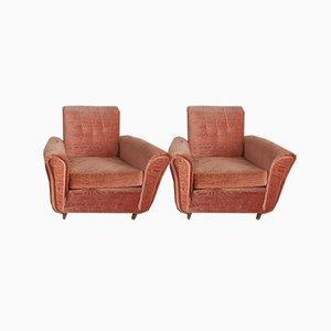 Italian Damask Lounge Chairs, 1950s, Set of 2