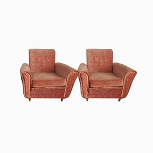 Italienische Damast Sessel, 1950er, 2er Set
