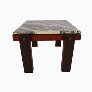 Brutalist Coffee Table with Marble Top & Hardwood Base, 1960s