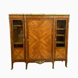 Louis XV Bookcase with Precious Wood Inlay, 1850s