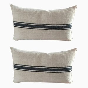 Mid-Century Hungarian Grain Sack & Linen Pillows with Navy Stripe, Set of 2