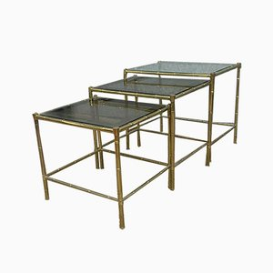 Bamboo Nesting Tables from Maison Baguès, 1950s, Set of 3