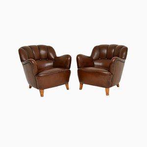 Antique Swedish Leather Armchair