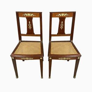 Empire Mahogany & Gilt Bronze Dining Chairs, Set of 2