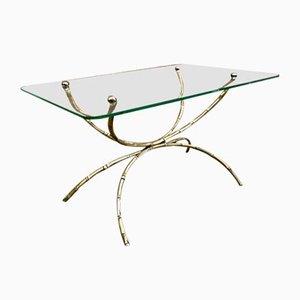 Italienischer Art Deco Beistelltisch aus Bronze & Glas, 1950er