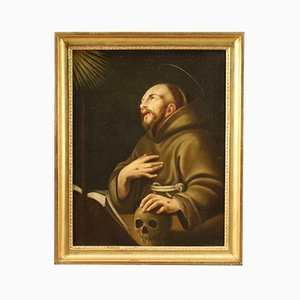 Antique Painting of Saint Francis of Assisi, 18th Century