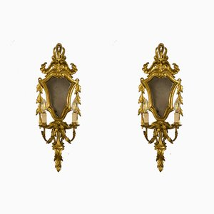 Louis XV Style Gilded Carved Wood 2-Light Sconces with Mirror, 1940s, Set of 2