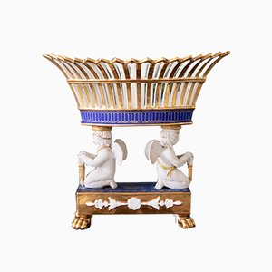 Empire Period Parisian Porcelain Basket Supported by Angels, Circa 1820