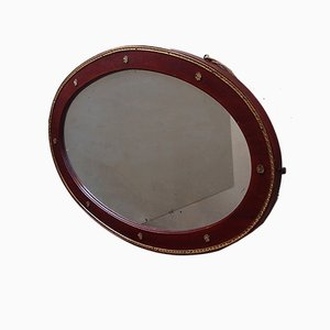 Antique Oval Wooden Mirror with Brass Decoration
