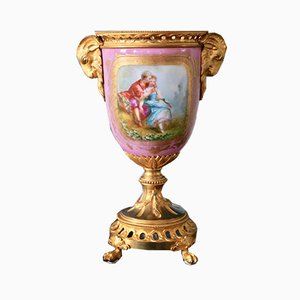 Parisian Sèvres Style Porcelain & Bronze Vase, 1800s