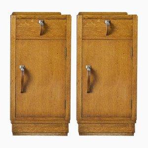 Antique Art Deco Oak Bedside Cabinets, 1920s, Set of 2