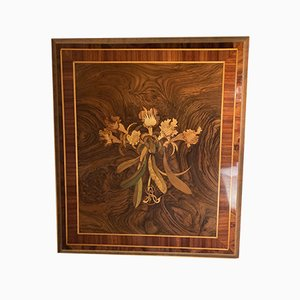 Antique French Art Nouveau Picture with Floral Inlays