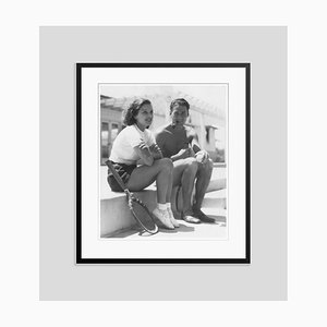 A Spot of Tennis for Lili & Errol Archival Pigment Print Framed in Black by Everett Collection
