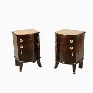 Tables de Chevet Antique avec Plateaux en Marbre, Set de 2