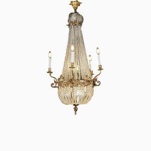 Empire Crystal Glass & Gilded Bronze Chandelier, 19th Century