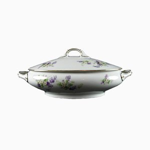 Antique Oval Soup Tureen with Flowers from Thomas