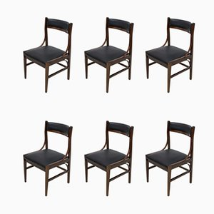 Italian Mahogany Dining Chairs by Ico Parisi for Cassina, 1960s, Set of 6