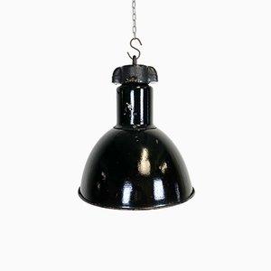Lampada Bauhaus industriale smaltata nera, anni '50
