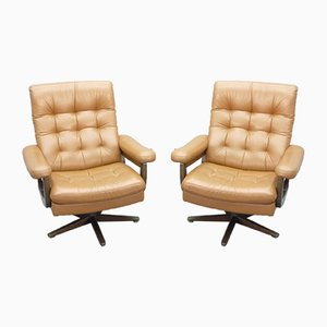 Mid-Century Leather Club Chairs, 1960s, Set of 2