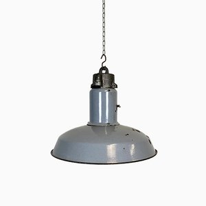 Industrielle Emaillierte Deckenlampe in Grau, 1950er