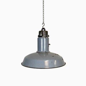 Lampada da soffitto industriale smaltata grigia, anni '50