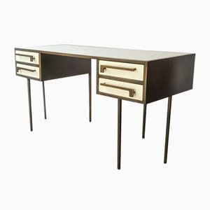 Mid-Century Custom-Made Brass & Lacquered Wood Cartier Desk, 1970s