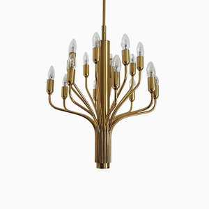 Mid-Century Modern Brass 16-Arm Chandelier in the Style of Sciolari, 1970s