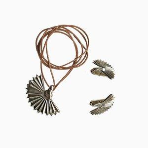 Silberne Vintage Ohrringe & Hängelampe von Loewe, 3er Set