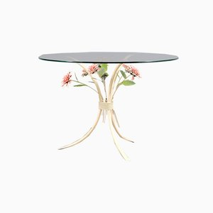 German White Metal Side Table with Flowers, 1970s