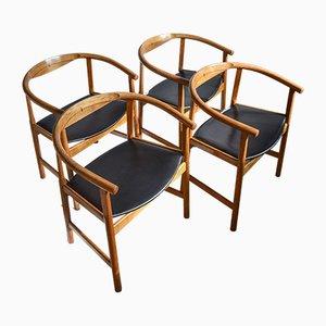 Mid-Century Oak & Wenge PP 203 Dining Chairs by Hans J. Wegner for PP Mobler, Set of 4