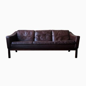 Danish Leather & Rosewood Sofa with Down Filled Cushions by Poul M. Jessen for Viby J, 1960s