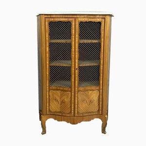 Louis XV Curved Bookcase with Precious Wood Inlay, 1880s