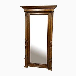 Großer antiker Spiegel aus patiniertem Nussholz